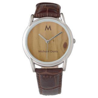 rustikales u. stilvolles, hölzernes armbanduhr
