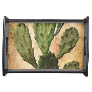 rustikales Vintages des Kaktus Serviertablett