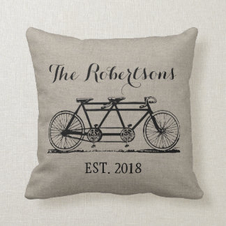 Rustikales Vintages Fahrrad-Hochzeits-Monogramm Kissen