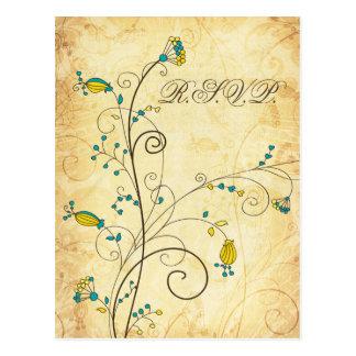 rustikales Vintages gelbes Blumenhochzeits-uAwg Postkarte