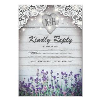 Rustikales Vintages Lavendel-Hochzeit UAWG 8,9 X 12,7 Cm Einladungskarte