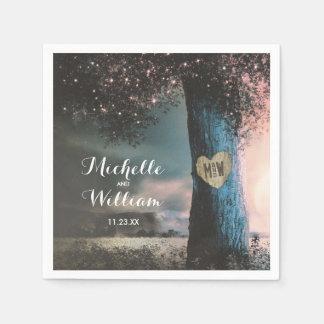 Rustikales Waldalter Baum beleuchtet Hochzeit Serviette