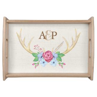 Rustikales Watercolor-Geweih-Blumen-Paar-Monogramm Tablett