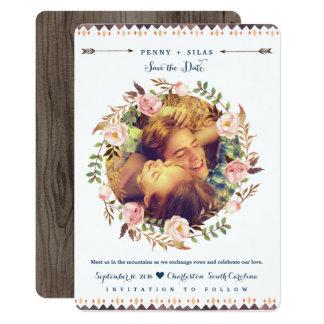 Rustikales Watercolor-mit BlumenFoto retten die 12,7 X 17,8 Cm Einladungskarte