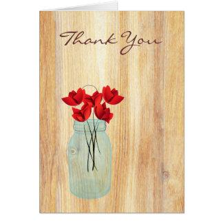 Rustikales Weckglas-rote Mohnblumen danken Ihnen Karte