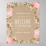 Rustikales Wedding Empfangs-Zeichen der Blumen-| Posterdrucke