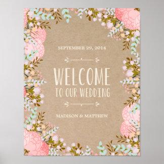 Rustikales Wedding Empfangs-Zeichen der Blumen-| Poster