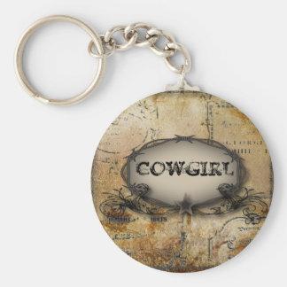 Rustikales Western-Cowgirl Keychain Standard Runder Schlüsselanhänger