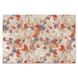 Rustikales Winter-Beeren-und Vogel-Muster Seidenpapier