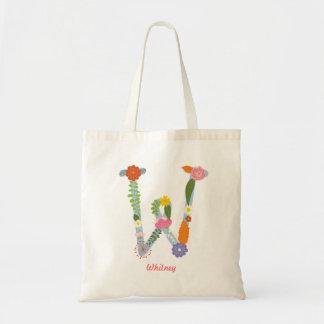 Rustikales wunderliches Blumen-Monogramm (W) Tragetasche