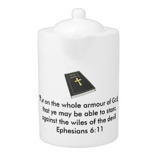 Rüstung der Gott-Teekanne w/Bible