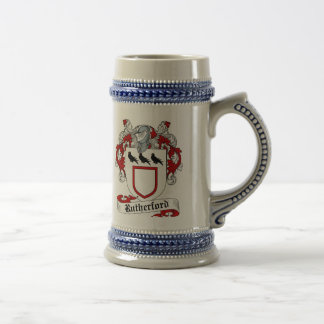 Rutherford-Wappen Stein - Familienwappen Bierglas