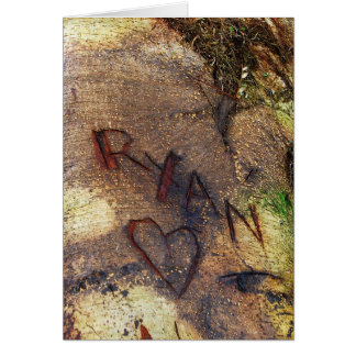 Ryan-Liebe-Baum, der Karte schnitzt