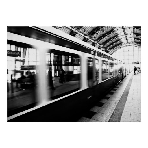 s bahn berlin schwarz wei fotografie poster zazzle. Black Bedroom Furniture Sets. Home Design Ideas