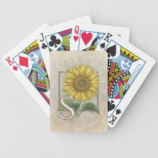 S für Sonnenblume-Blumenalphabet-Monogramm Bicycle Spielkarten