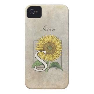 S für Sonnenblume-Blumenmonogramm iPhone 4 Hüllen