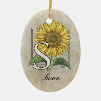 S für Sonnenblume-Monogramm-Kunst Keramik Ornament