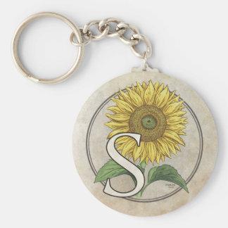 S für Sonnenblume-Monogramm-Kunst Schlüsselanhänger