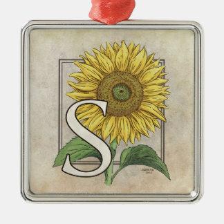 S für Sonnenblume-Monogramm-Kunst Silbernes Ornament