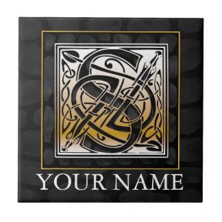 """S """"Ihre Namens"""" keltische schwarze Steinmonogramm- Kleine Quadratische Fliese"""