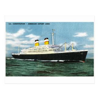 S.S. Konstitutions-amerikanische Eillinien Vintag Postkarte