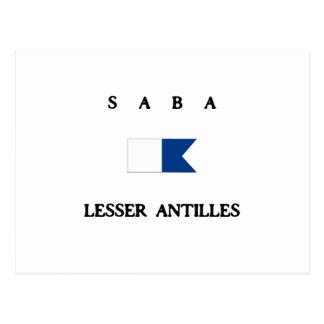 Saba Antillen-Alphatauchen-Flagge Postkarte