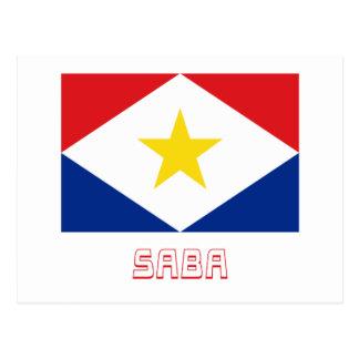 Saba Flagge mit Namen Postkarte
