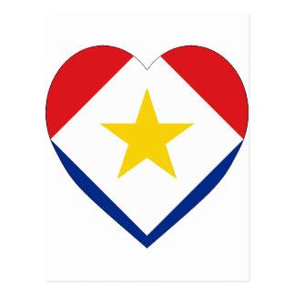 Saba Flaggen-Herz Postkarte