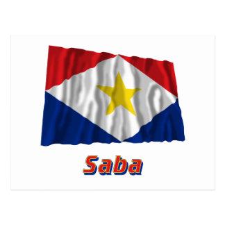 Saba wellenartig bewegende Flagge mit Namen Postkarte