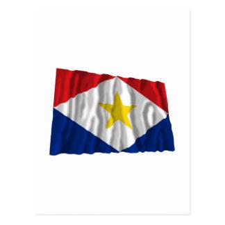 Saba wellenartig bewegende Flagge Postkarte