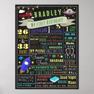 Sachen, die Jungen-erstes Geburtstags-Plakat Poster