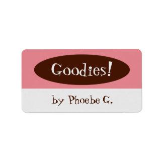 Sachen-Rosa und Brown-Küchen-Aufkleber Adressaufkleber