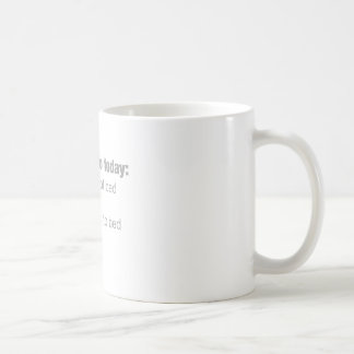 Sachen, zum heute zu tun: stehen Sie Kaffeetasse