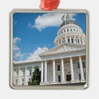 Sacramento-Staats-Hauptstadt von Kalifornien Quadratisches Silberfarbenes Ornament