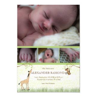 Safari-Affe-Babygeburt Annoucement 12,7 X 17,8 Cm Einladungskarte