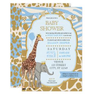Safari-Babyparty-Einladung - blauer Junge 12,7 X 17,8 Cm Einladungskarte