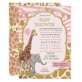 Safari-Babyparty-Einladung - rosa Mädchen 12,7 X 17,8 Cm Einladungskarte