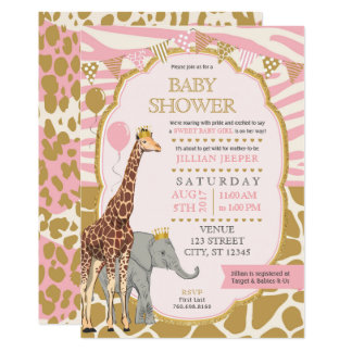 Safari-Babyparty-Einladung - rosa Mädchen Karte