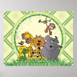 Safari-Dschungel-Baby-Tiere Poster