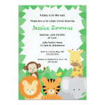Safari-Dschungel-Babyparty - Junge/Mädchen 12,7 X 17,8 Cm Einladungskarte