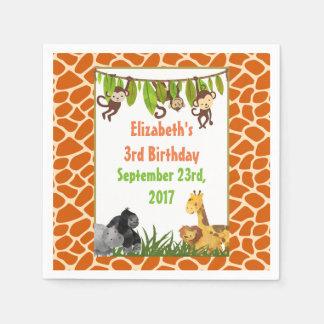Safari-Dschungel-Tierthema-Geburtstags-Party Papierserviette