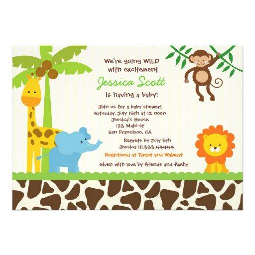Safari-Dschungel-Zoo-Babyparty-Einladungen