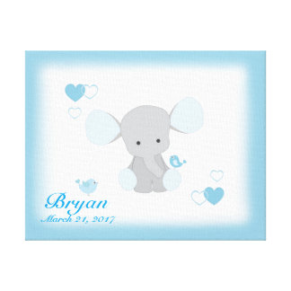 Safari-Elefant-blaues Grau-graues Leinwanddruck