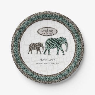 Safari-Elefant-kleine Mann-Babyzebra-Dusche Pappteller