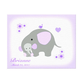 Safari-Elefant-lila graue Leinwanddruck