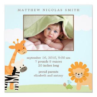 Safari-Freund-Geburts-Mitteilungen Quadratische 13,3 Cm Einladungskarte
