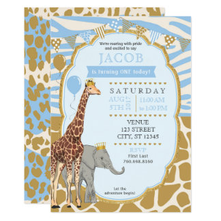 Safari-Geburtstags-Einladung - Blau Karte