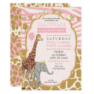 Safari-Geburtstags-Einladung - Rosa 12,7 X 17,8 Cm Einladungskarte