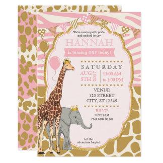 Safari-Geburtstags-Einladung - Rosa Karte