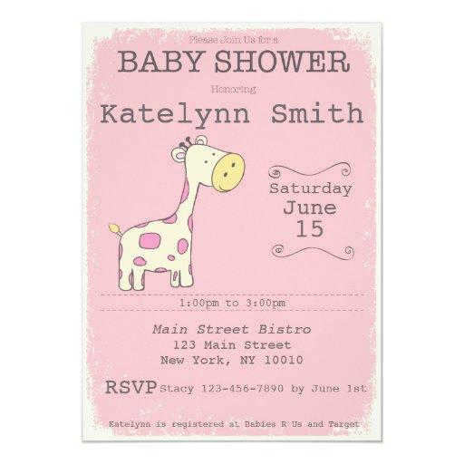 safari giraffen babyparty einladung 12 7 x 17 8 cm einladungskarte zazzle. Black Bedroom Furniture Sets. Home Design Ideas